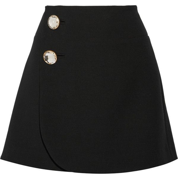 Marni Wool wrap mini skirt (1.300 BRL) ❤ liked on Polyvore featuring skirts, mini skirts, marni, bottoms, black, wrap skirt, wool mini skirt, wool wrap skirt, wrap front skirt and mini skirt