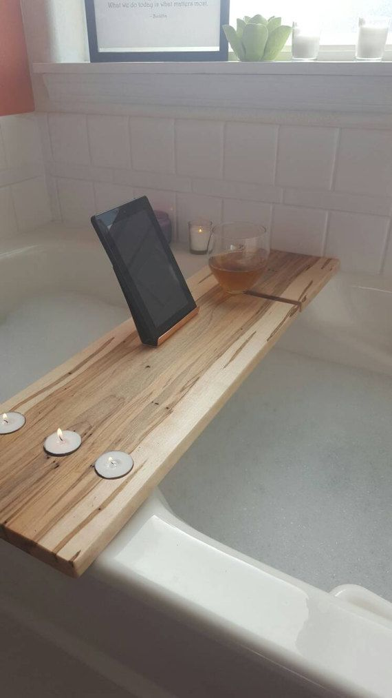 Solid wormy maple bathtub board, tray, caddy with copper or steel ...