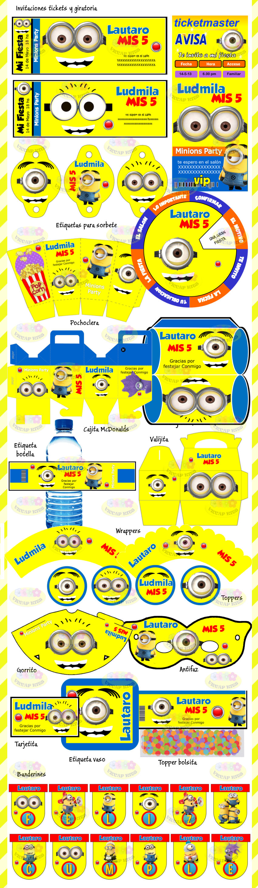 Kit Imprimible Minions Mi Villano Favorito Candy Bar Invitac ...