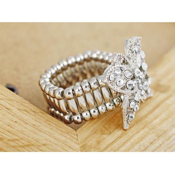 #Silver Fashion Butterfly #Rhinestone Stretchy Elastic Ring
