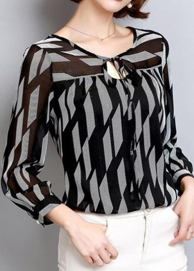 650d335794 Button Embellished Three Quarter Sleeve Blouse