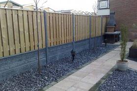 Houten Scheidingswand Tuin : Schutting hout beton tuin garden garden fencing