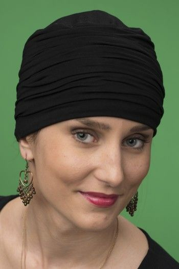 MARTINA BAMBOO BLACK PLEATED CHEMO HAT Made In Uk c62150f9bba