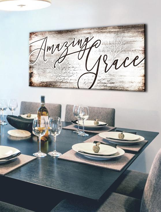Christian Wall Art Amazing Grace Wood Frame Ready To Hang Room Wall Art Kitchen Wall Decor Dining Room Walls