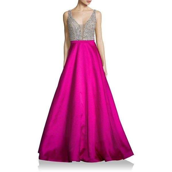 bcae5b89aa Jovani Beaded Deep-V Satin Ball Gown ( 350) ❤ liked on Polyvore featuring
