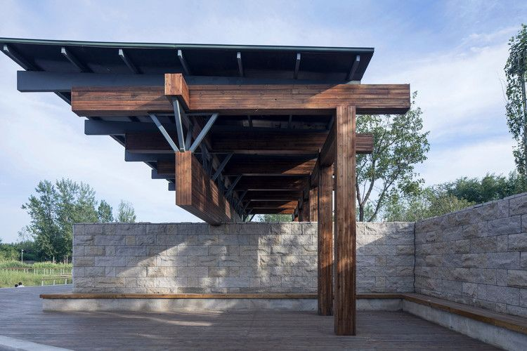 Beam Pavilion In The North Part Of The Park Image C Fangfang Tian Benming Song Pavilion Architecture Temporary Architecture Pavilion Design