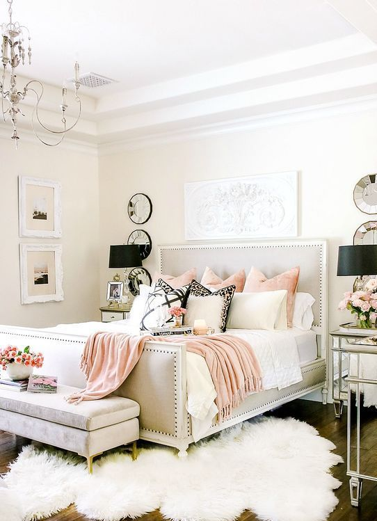 Elegant Romantic Bedrooms: A Light Grey Bedroom With Touches Of Pink And Lavender For