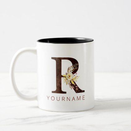 Floral Monogram R Rich Autumn Foliage Two-Tone Coffee Mug | Zazzle.com #autumnfoliage