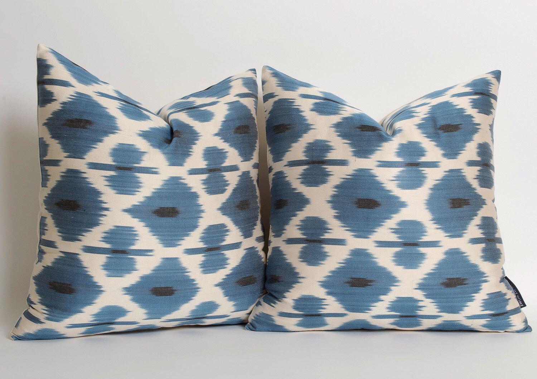 Etsy Throw Pillows Set Of 2 White Blue Silk Ikat Pillow Cover Blue Silk Ethnic Throw