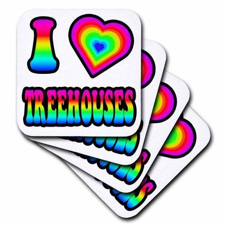 3dRose Groovy Hippie Rainbow I Heart Love Treehouses, Soft Coasters, set of 4