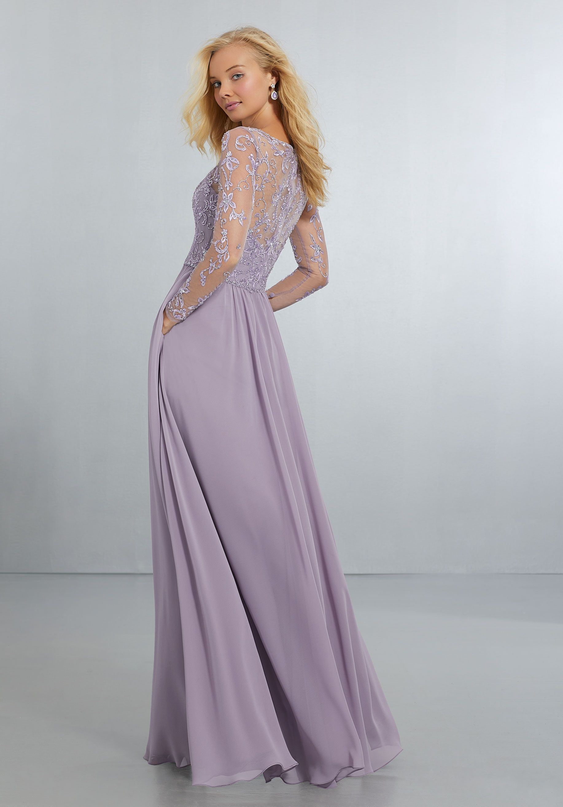 f84e31c5648 Chiffon Bridesmaids Dress with Intricately Embroidered and Beaded ...