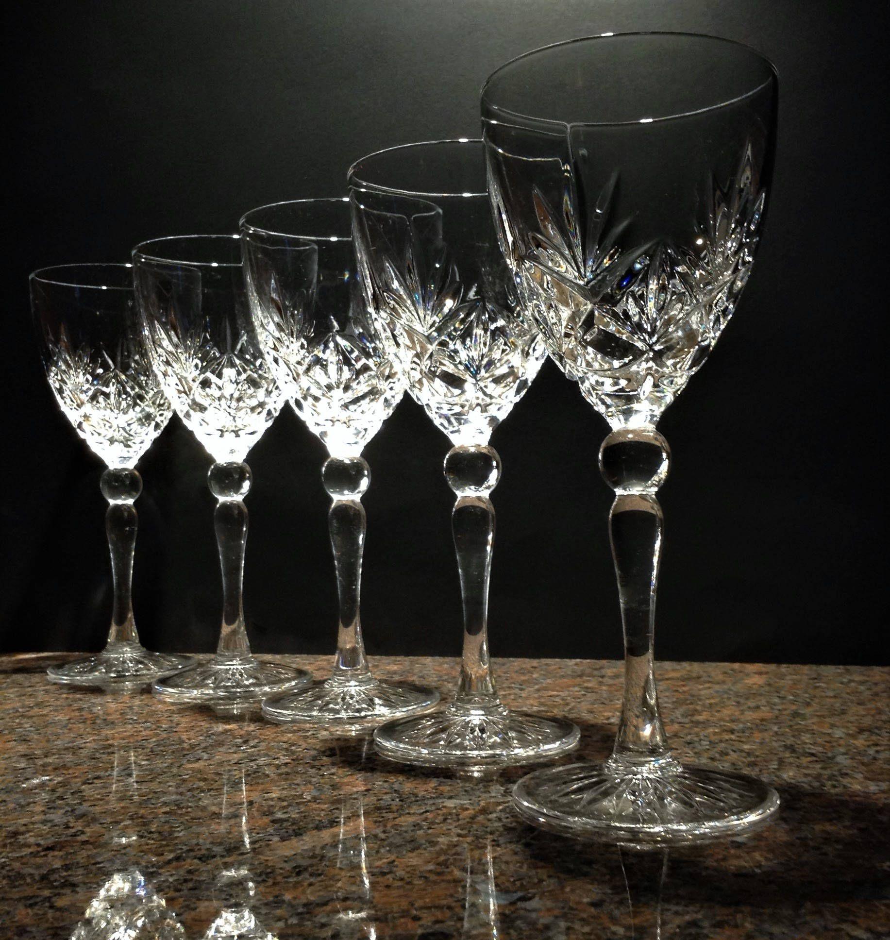 Crystal Wine Glasses Set Of 5 Mystique Cristal D Arques Durand Vintage Lead Crystal Glassware 7 Vintage Wine Glasses Crystal Glassware Crystal Wine Glasses
