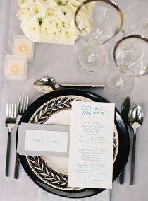Black & White Wedding Place Setting - no blue