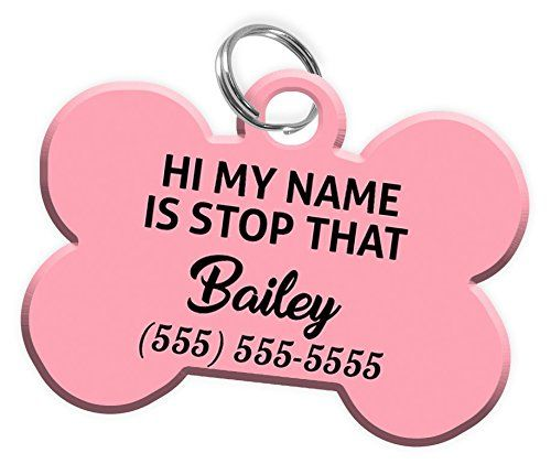 Pet Id Dog Tag Bone Shaped Funny Hi My Name Is Stop That
