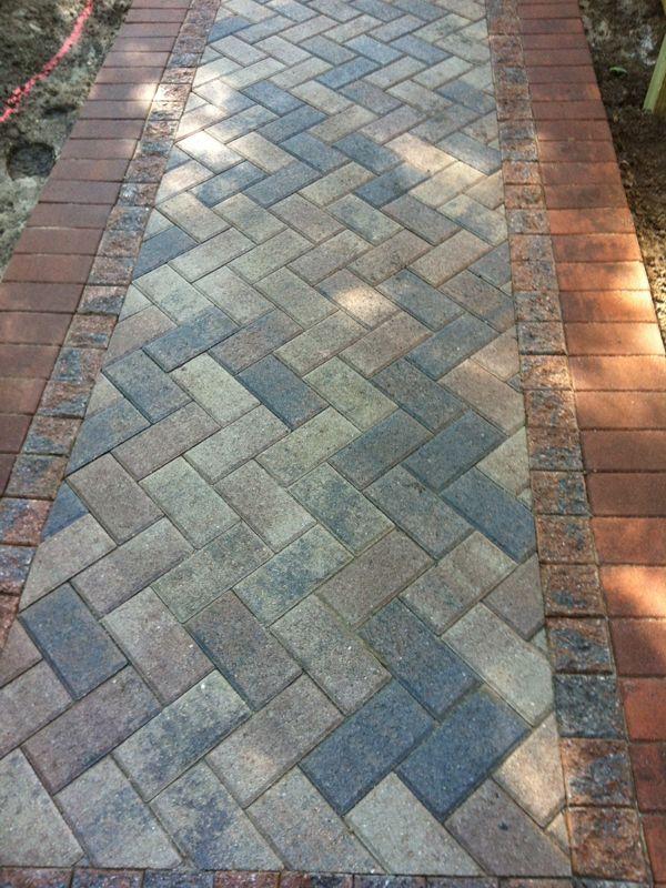 Brick Paver Walkway Close Up Architectural Landscape