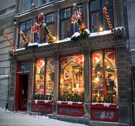 Christmas Store Front In Old Montreal