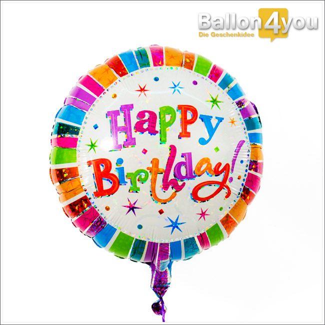 Happy Birthday bunt mit Sternchen  Mit diesem Geschenk bringen Sie Farbe ins neue Lebensjahr. Das Geburtstagkind wird begeistert sein und es Ihnen mit viel Freude über diese farbenfrohe Botschaft danken. Gerne können Sie diese mit weiteren bunten Ballons miteinander kombinieren.