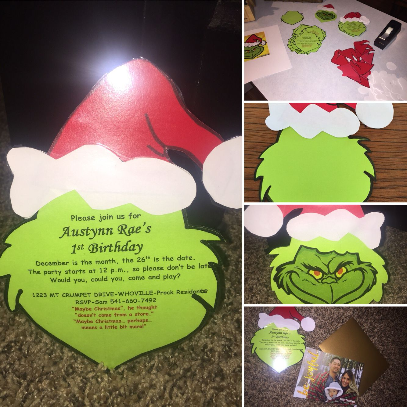 Grinch Christmas Party Ideas Part - 27: DIY Grinch 1st Birthday Party Invitations.