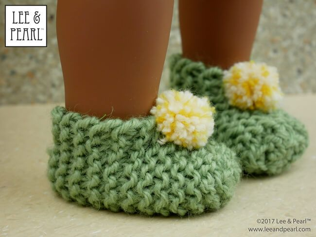 L&P Easy Garter Stitch Knitted Slippers for 18\
