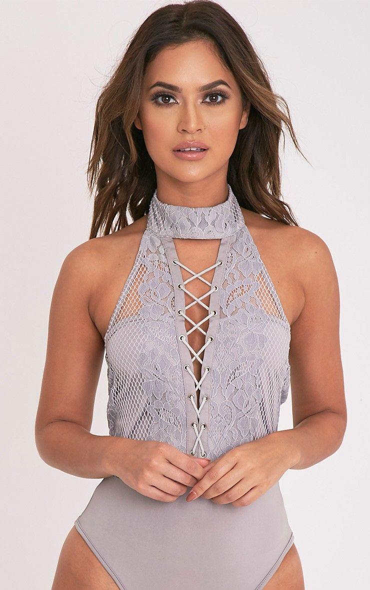 27fa401f38 Kayla Grey Choker Neck Lace Up Front Thong Bodysuit Image 2