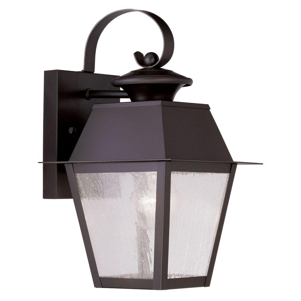 Providence wallmount light bronze outdoor incandescent lantern