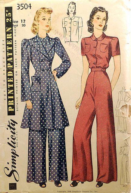 1930s vintage sewing pattern pajamas loungewear | Pinterest | Mode ...