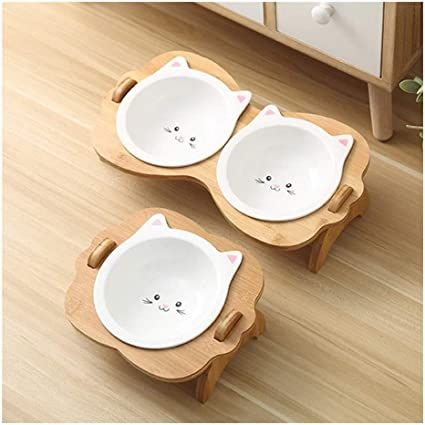 Amazon.com : DBOWLSS-TC Ceramic Pet Bowls, Raised Pet Dog Cat Feeding Water Bowl with Stand Safe ...