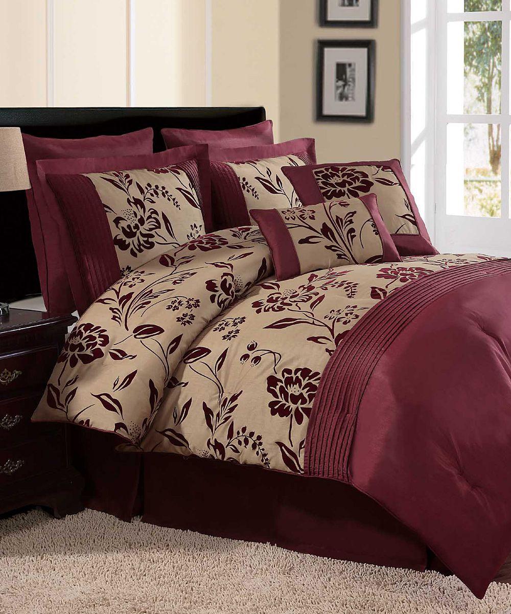 Aurora Queen Comforter Set Cute In 2019 Burgundy Bedroom