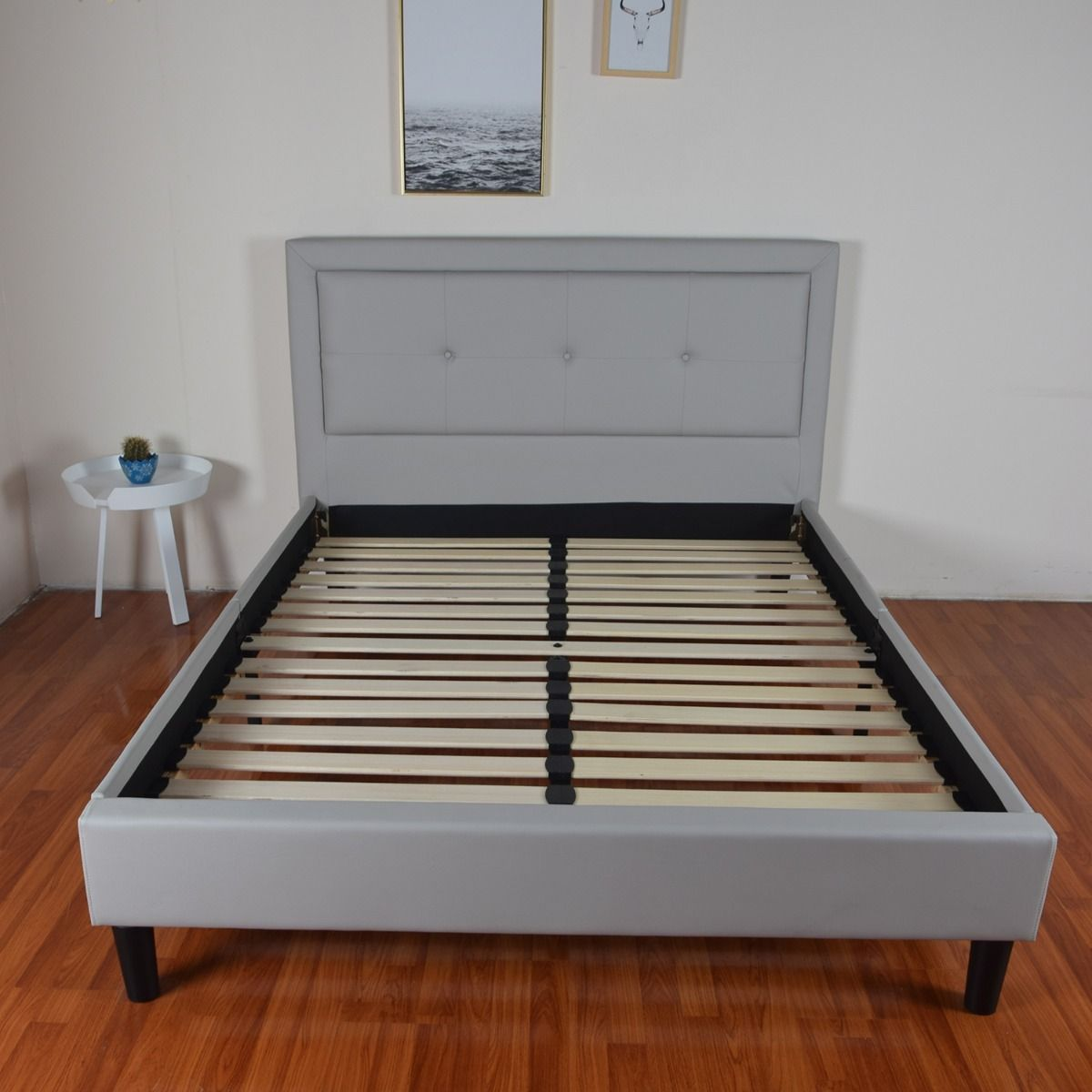 Grey Pu Upholstered Bedframe Size 209 X 151 X114 Cm Metal Legs