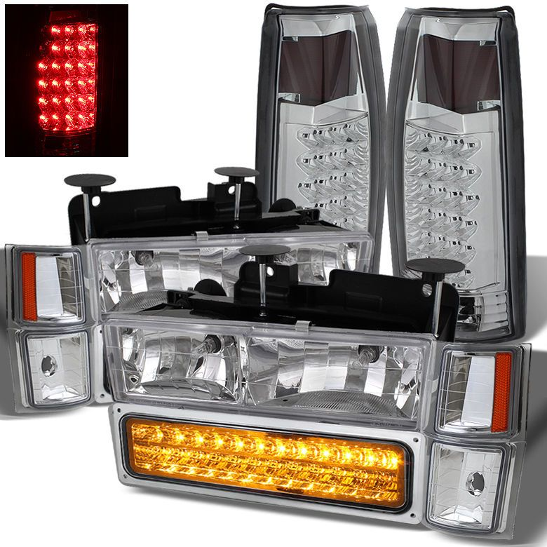 For 94 99 Chevy Tahoe Suburban Headlights Led Bumper Led Tail Lights Combo Chevy Tahoe Led Tail Lights Chevy