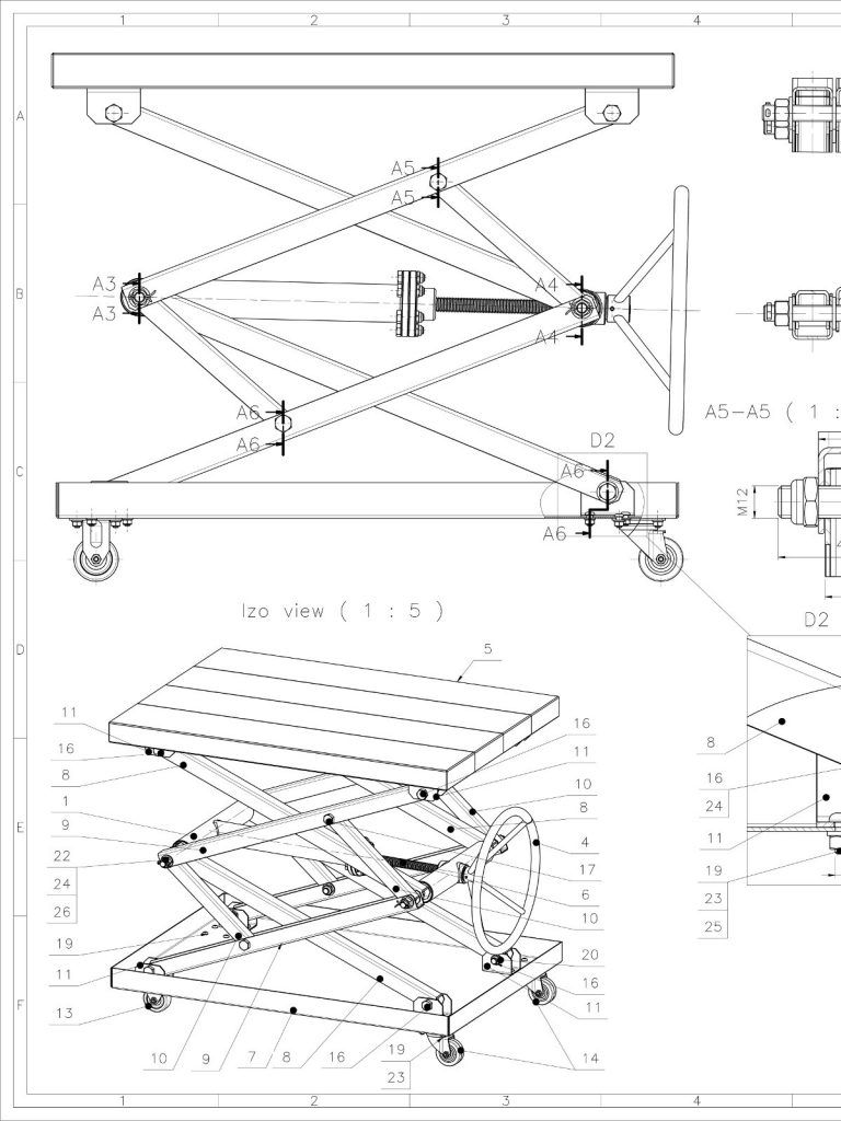 Screw Scissor Table CAD project - Coffee Table design   Adeyeloja