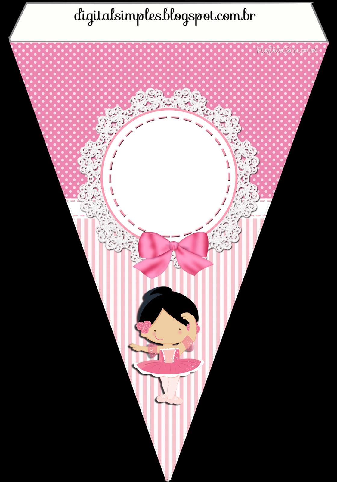 """Adhesivos De Bailarina Para Imprimir ~ Kit de Personalizados Tema""""Bailarina Rosa"""" para Imprimir Convites Digitais Simples"""