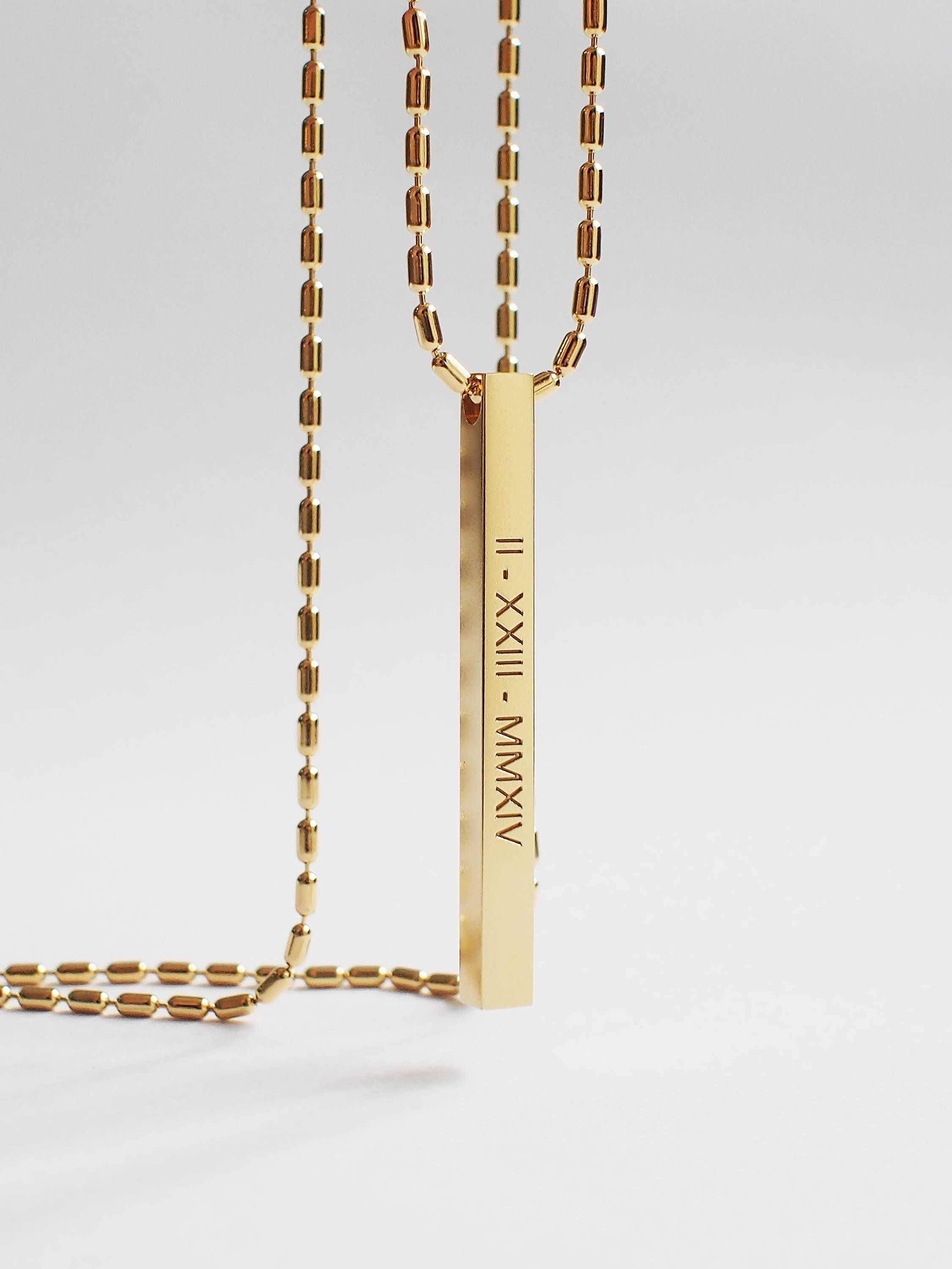 gold bar sandbox coordinates custom necklace