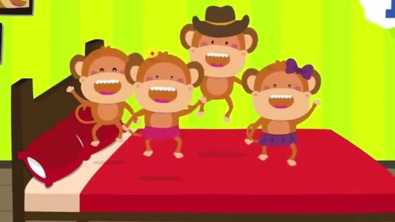 "New version of ""Five Little Monkeys Jumping on the Bed!"" We slowed down the song, so toddlers and preschoolers can easily follow along to the song and video!   #kidsongs   #nurseryrhymes   #preschool"