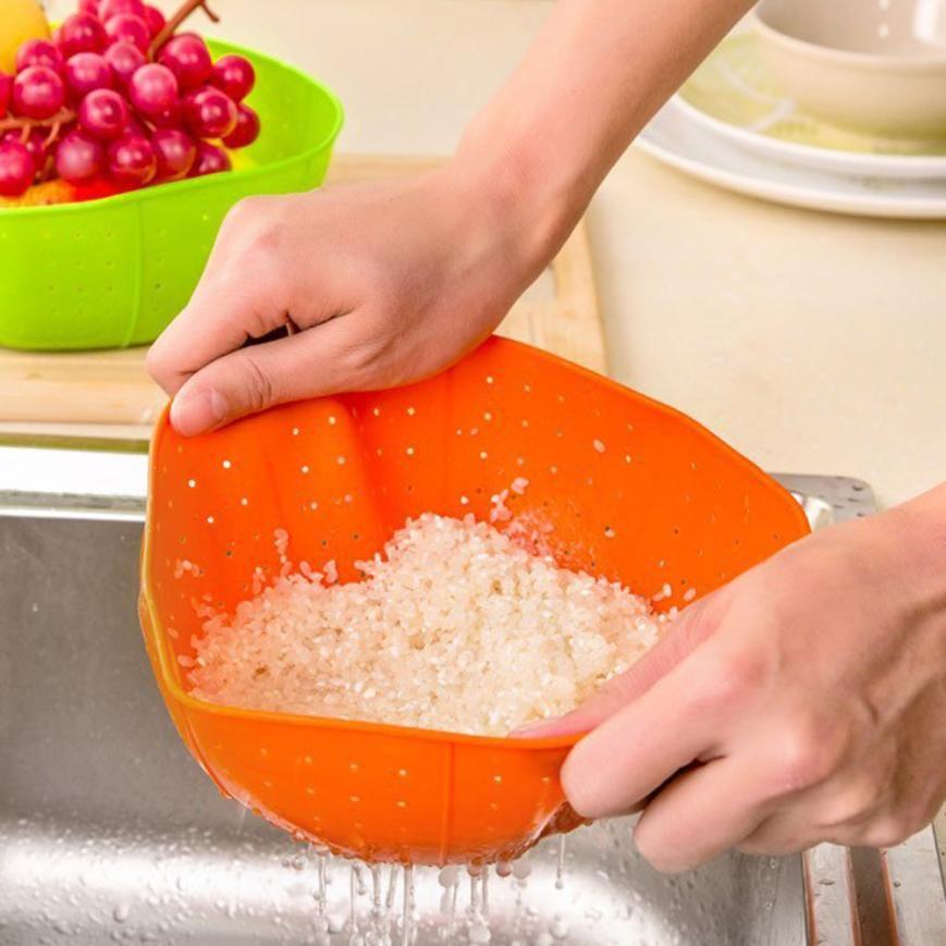 Kitchen Basket Multifunction Silicone Kitchen Drain Basket Colander Rice Sink  Accessories Washing Vegetables Fruit Baskets