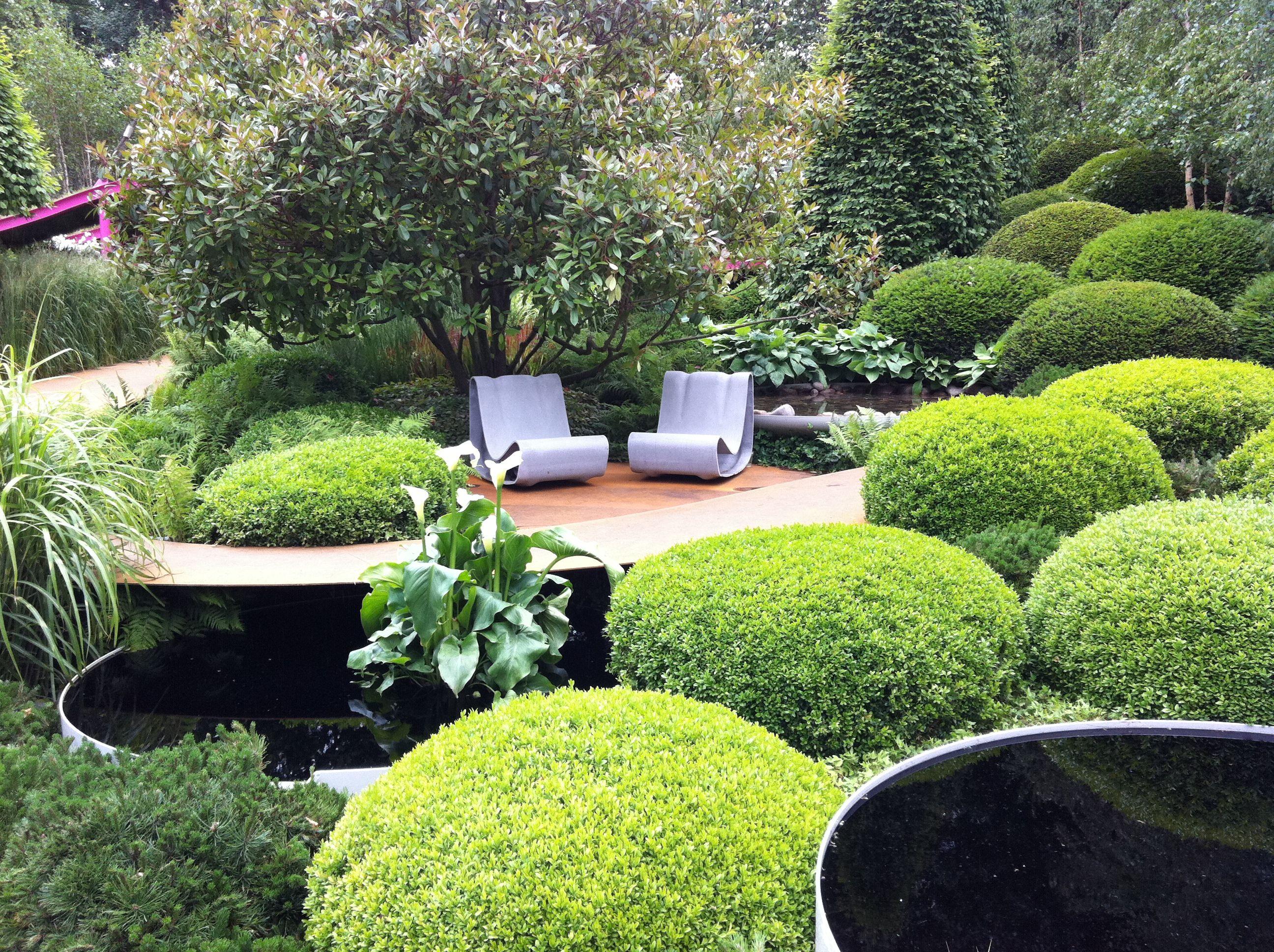 buxus kussens met mooie water schalen garden design