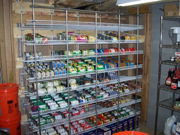Brilliant Kitchen Pantry Organizers For Cans With Wire Shelving Storage Solutions On Stainless Steel Pipe