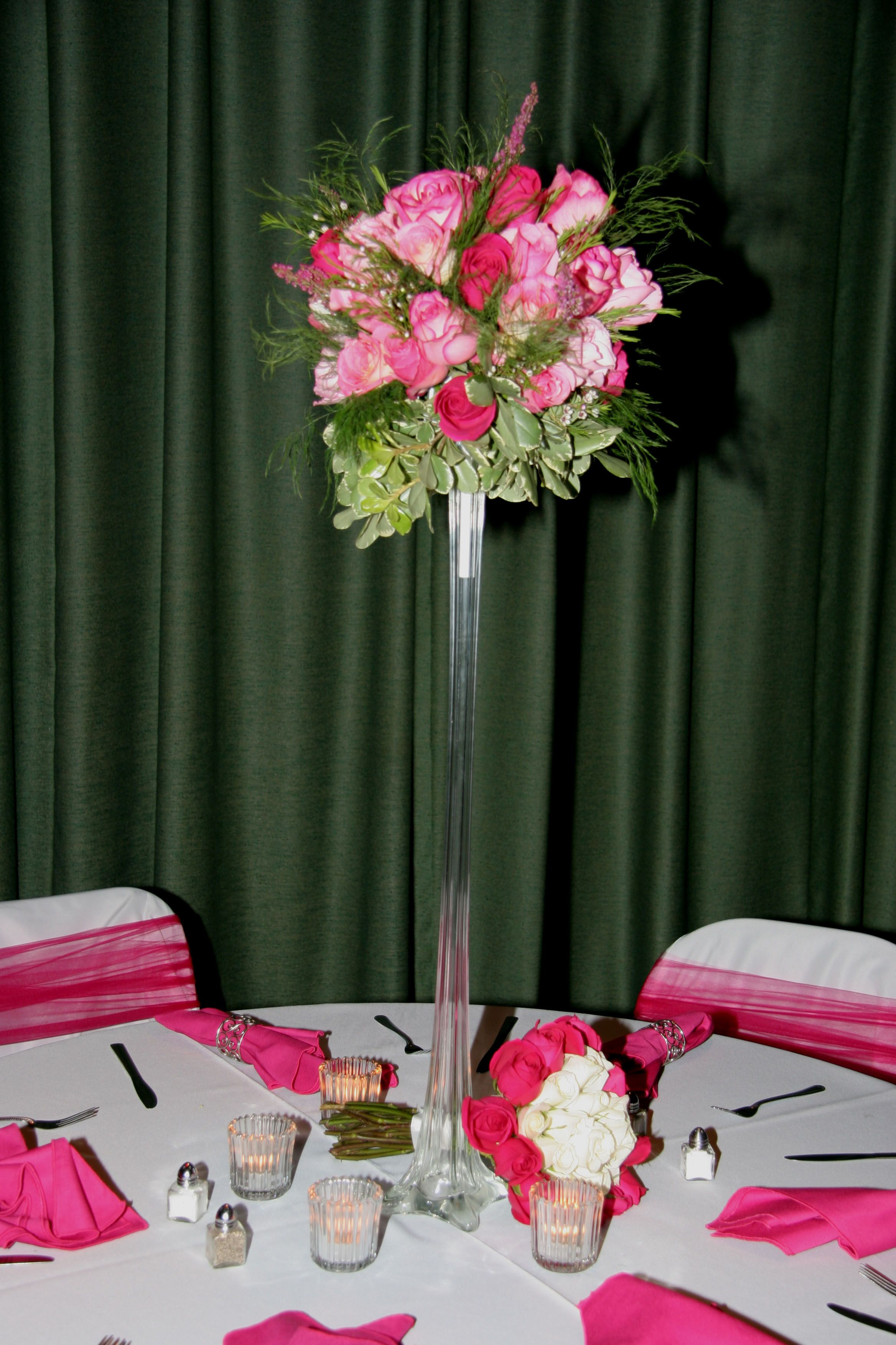 Tall Glass Vase Wedding Centerpiece with Pink Floral Arrangement and