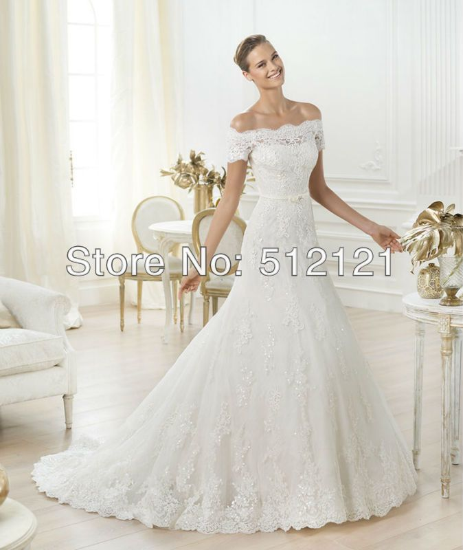 Lace Drop Waist Wedding Dress Off Shoulder Sleeves A Line The Gown F M