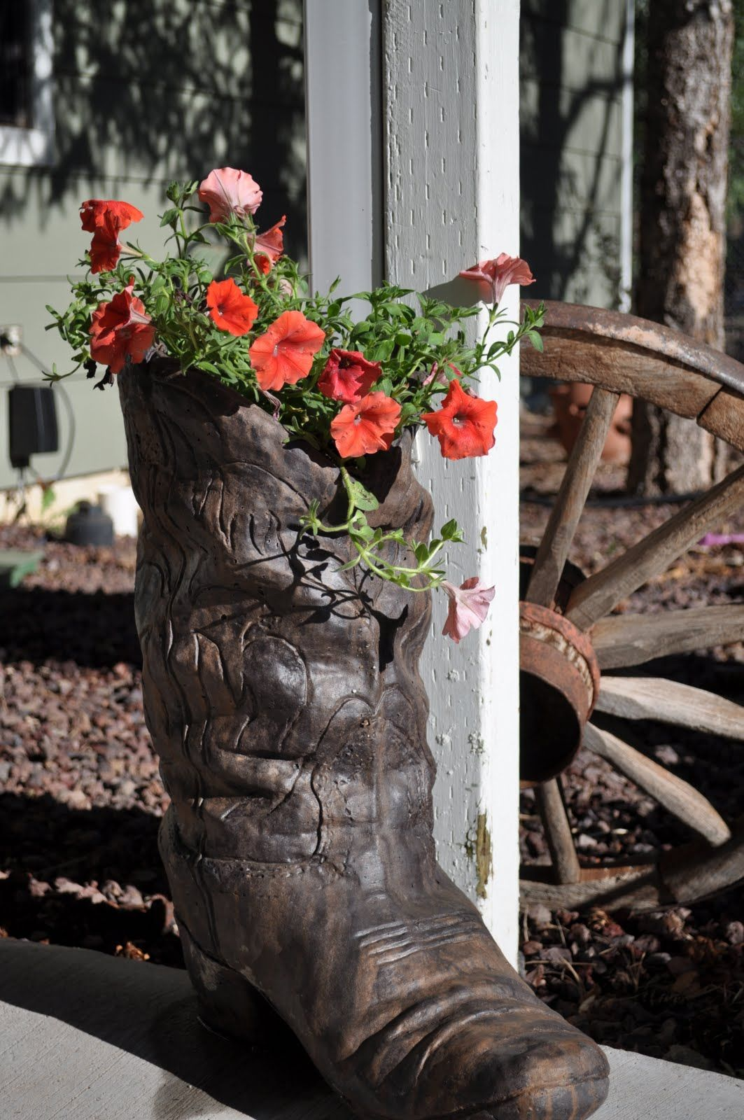 Cement Cowboy Boot Planter Flower