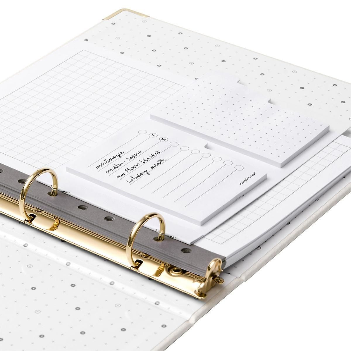 Russell Hazel 1 Gold Vegan Leather Mini Three Ring Binder In 2020 Three Ring Binders Adhesive Notes Weekly Planner Sheets