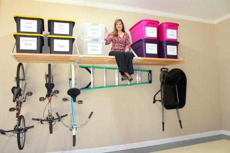 Diy Overhead Garage Storage Shelf For Containers And Vertical Wall Mounted Bike Rack Garage Storage Shelves Diy Overhead Garage Storage Diy Storage