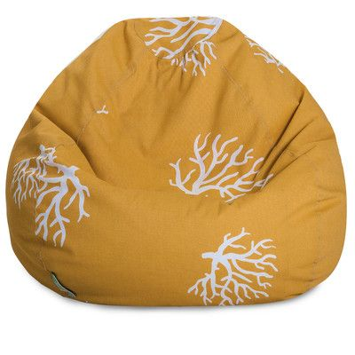 Majestic Home Goods 85907224007 Yellow Coral Small Classic Bean Bag