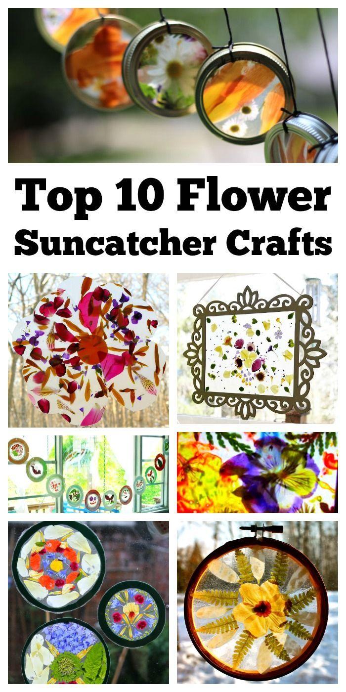 Top 10 Real Flower Suncatcher Craft Ideas #makeflowers