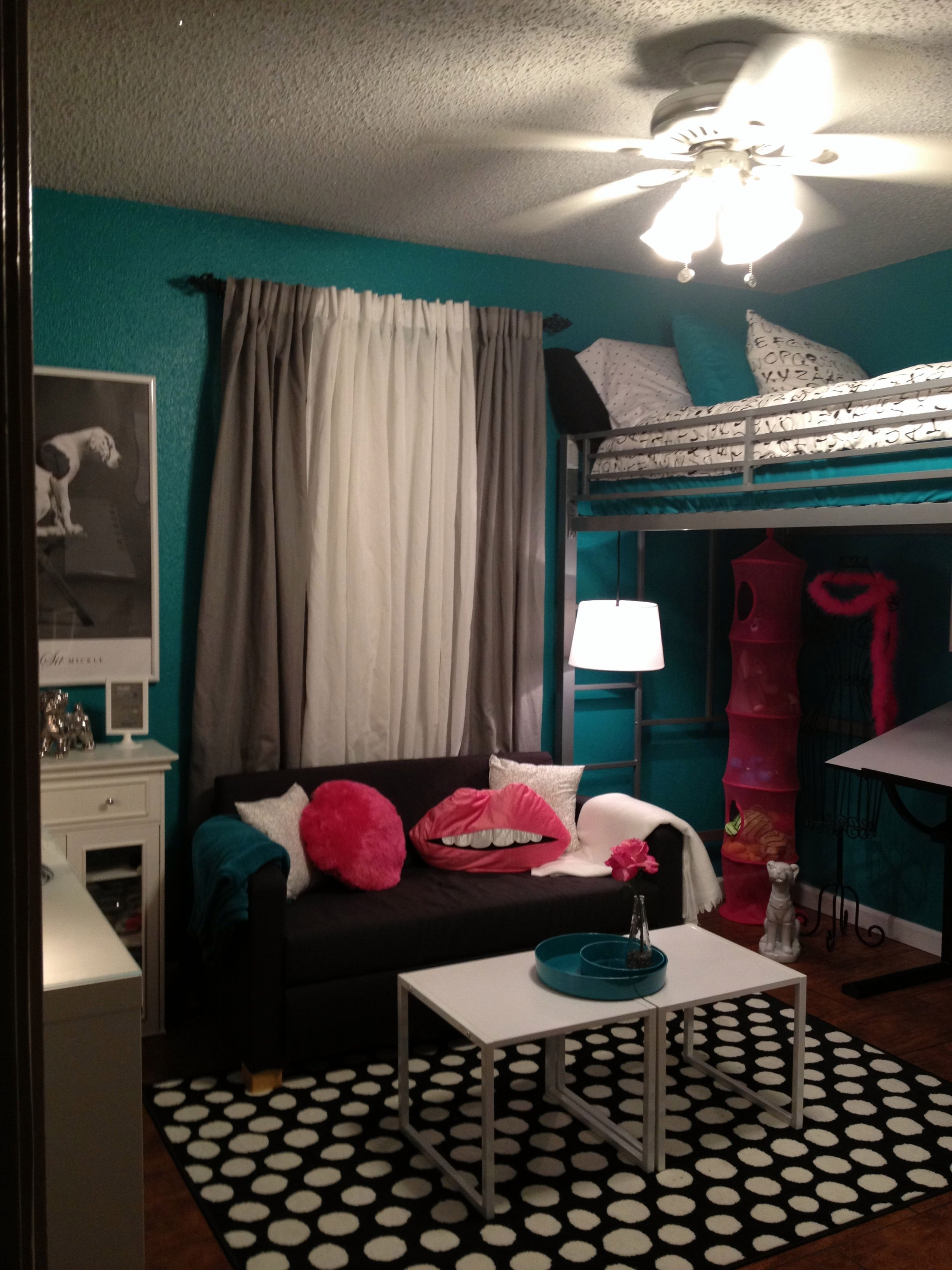 Black And White Living Room With Teal teen room, tween room, bedroom idea, loft bed, black and white