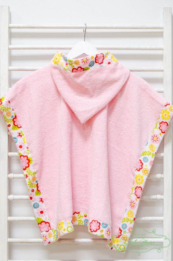 Hooded Baby Poncho Towel Handmade Flowers Pink Hooded Beach