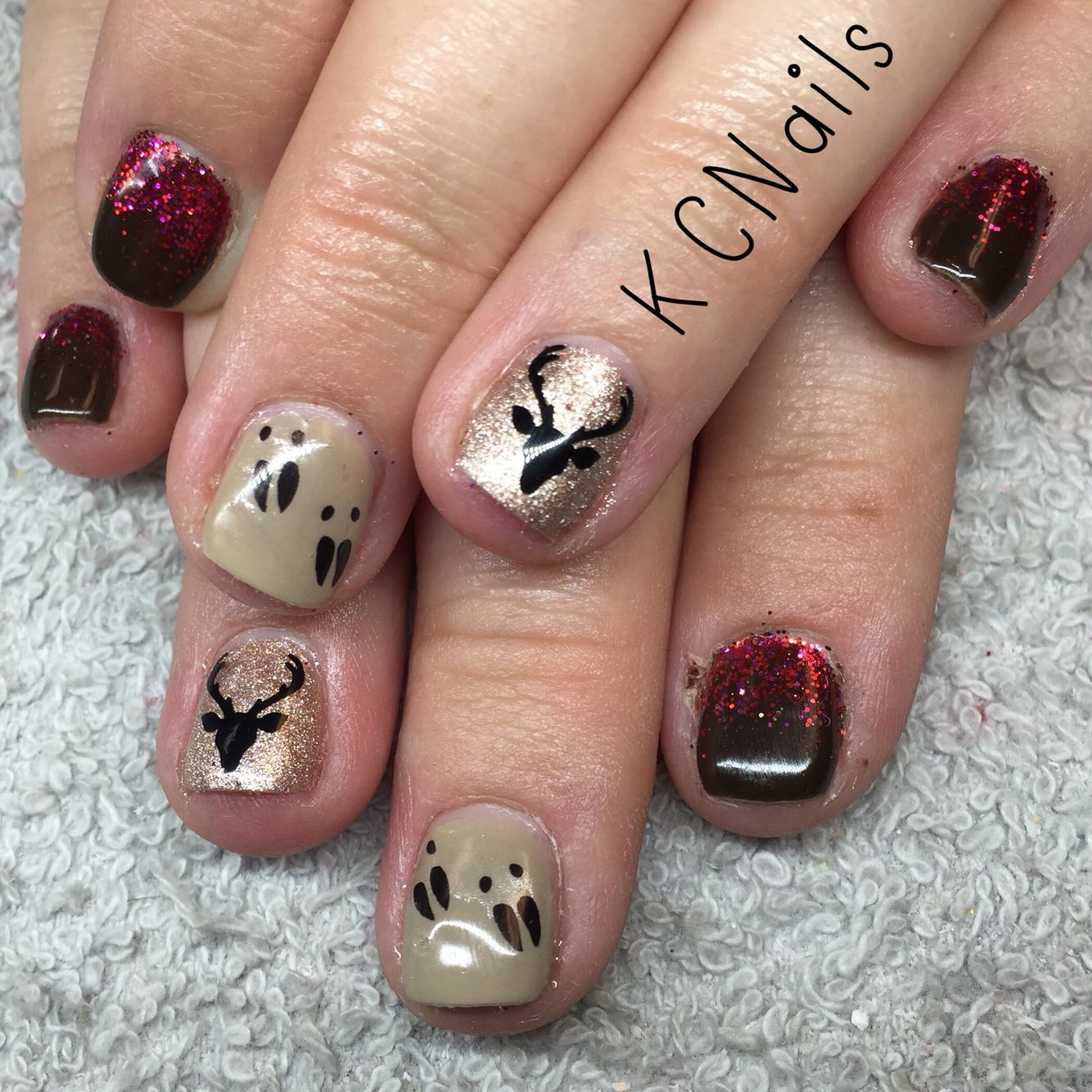Deer season nails Hunting nails Deer tracks Fall nails 2015 | Nail ...