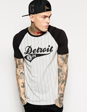 ASOS Baseball Style T-Shirt With Detroit Print And Relaxed Skater Fit