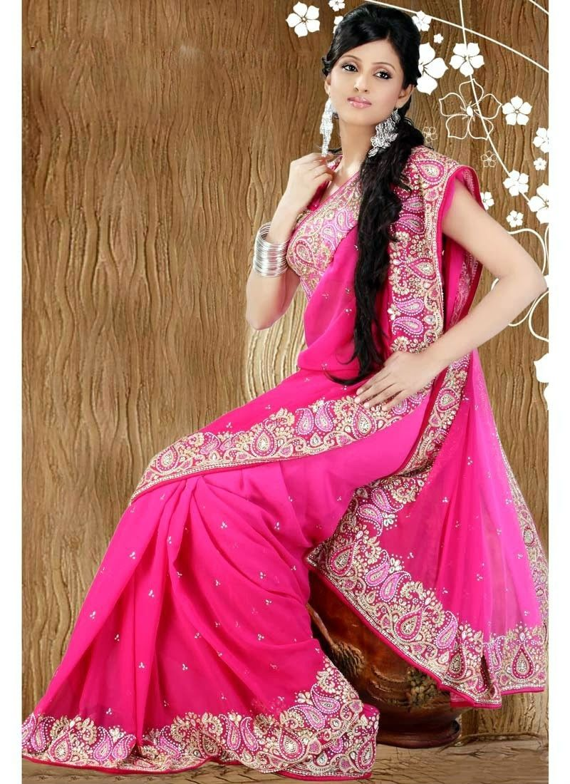 Fashionable Look Border #Embroidered Pink Color #Saree | Latest ...