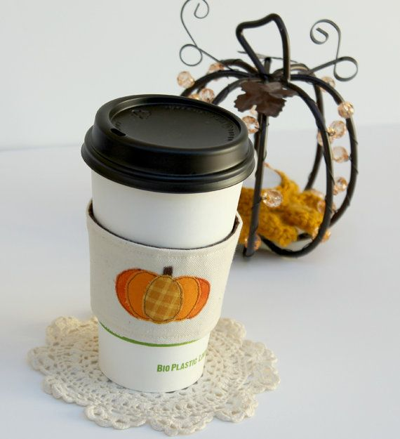 Pumpkin spice latte applique and embroidered coffee sleeve. $12.99
